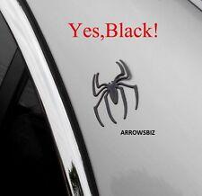 3D Chrome Autocollant Voiture Araignée badge emblème decal autocollant couverture Nick noir (2 pces)