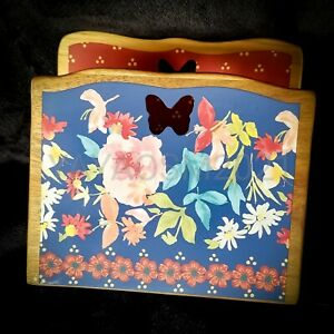 NEW Pioneer Woman Rustic Floral Acacia Wood Napkin Holder