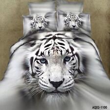 3D White Tiger King/Queen Size Bed Quilt/Duvet/Comforter Cover Set 100% Cotton @