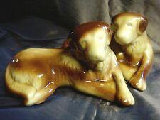 2 Glazed Ceramic GOLDEN RETRIVER STATUES