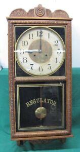 """38"""" Antique Large Waterbury Regulator 8 Day Striking Wall Clock; Serviced"""