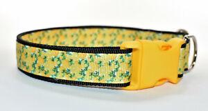 Lemon patterned Yellow Summer Adjustable dog puppy collar girl small medium