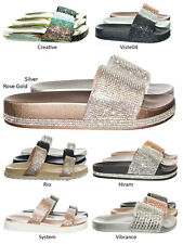 0f3da6776514f4 Viste07 Rhinestone Slide In PVC Molded Footbed Flatform Sandal Slippers