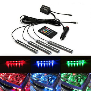 4× RGBW Auto Car Floor Decoration Lights Lamp Strips LED Remote Control Colorful