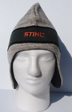 STIHL  Beanie Hat with ear flaps Cap  Grey / tan  w green and  orange