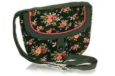 Black Flower Printed Cotton Saddle Bag, Polka Dot trim  - Fair Trade BNWT