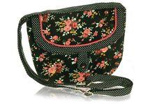 Black Flower Printed Cotton Saddle Bag, Polka Dot trim  - Fair Trade BNWT