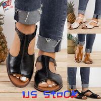 Summer Women Pumps Flat Casual Beach Shoes T-Strap Sandals Peep Toe Ladies US
