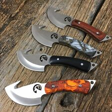 8 PC SET HUNTER OUTDOOR Full Tang Skinning Hunting Knife With Gut Hook new