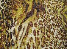 2 yards stretch spandex lycra fabric animal print & golden glitter decoration