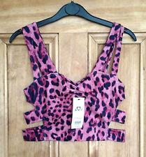 Miss Selfridge New Black Pink Side Strap Bralet Leopard Bra Top 6 -14 Bnwot