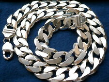 "15mm 925 Sterling Silver Men'S Cuban Link Chain Necklace Length: 20"" - 36"""