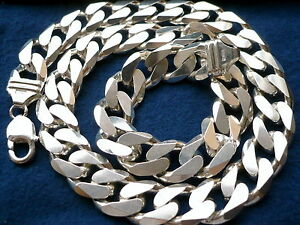 """15mm 925 Sterling Silver MEN'S CUBAN LINK CHAIN NECKLACE Length: 20"""" - 36"""""""