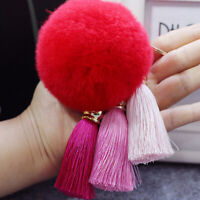 8cm Furry Pompom Ball Tassel Keychain Bag Car Key Ring Chain Pendant Decor