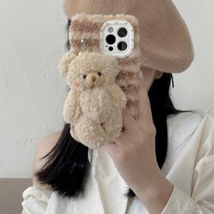 Cartoon Cute Plush Bear Chain Phone Case Cover For iPhone 12 Pro Max 11 XR X XS