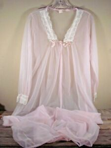 VTG MCM medium pink full length sheer chiffon lace peignoir robe nightgown