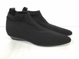 Salvatore Ferragamo Black Fabric Women's Almond Toe Ankle Berna Boots Size 6B