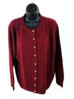 Sarah Bentley Womens Cardigan Sweater Long Sleeve Button Front Red Size Medium