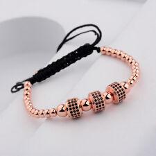24kt Men's Rose Gold 3 Round Tube Micro Pave CZ Crystal Bead Macrame Bracelets