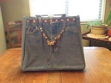 VINTAGE Women's Levi's Style Denim Embellished Handbag With Sturdy Handles