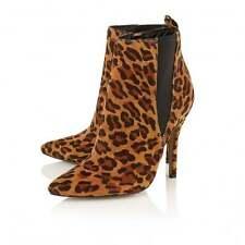 Ravel Coleman Leopard Print Velvet Heeled Ankle Boots UK 6 EURO 39