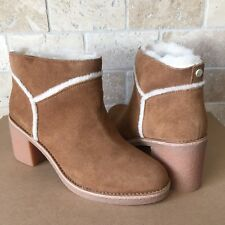 UGG KASEN CHESTNUT SUEDE SHEEPSKIN HEEL ANKLE BOOTIES MINI BOOTS SIZE 8.5 WOMEN