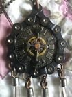 HANDMADE IN THE USA CRAFTED STEAMPUNK ART CLOCK/CHAIN/FUSES NECKLACE NICE SHAPE