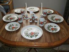 NEW LEFTON CHRISTMAS CARDINAL DINNERWARE 4 PLACE SETTINGS PLUS 5 EXTRA PIECES
