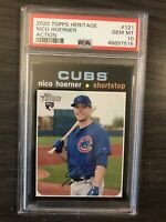 2020 Topps Heritage Nico Hoerner Action Variation Rookie PSA 10 Chicago Cubs RC