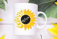 Sunflower And Butterflies Custom Mug Personalized Sunflower Mug For Her