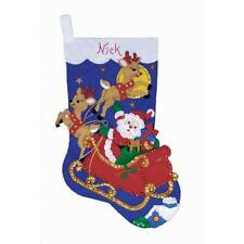 "Stocking Kit ""Moonlit Ride"" Design Works 16"" Christmas Felt Santa, Sleigh,Deer"
