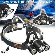 12000LM T6 3x CREE XM-L LED Headlamp Head Torch Rechargeable Outdoor Headlight