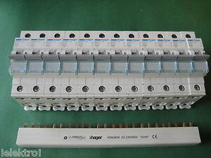 12x Hager Sicherung B16 -1pol. MBN116 LS Schalter + Phasenschiene KDN363A SET