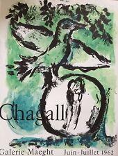 CHAGALL MARC - AFFICHE ORIGINALE LITHOGRAPHIQUE   GALERIE MAEGHT 1962 MOURLOT