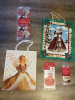 NOS VINTAGE HALLMARK BARBIE CHRISTMAS HOLIDAY TISSUE PAPER  GIFT BAGS SET NEW