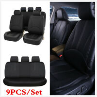 Universal Black Luxury PU Leather Car Seat Covers 9Pcs/Set Front+Rear Seats New