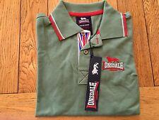 Boy's Green LONSDALE classic long sleeve polo w. union jack print placket, 4-6