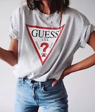 Guess Oversized Vintage Triangle Logo Womens T-shirt