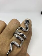 Vintage Real Crystal Gothic Snake 2.5 in 925 Sterling Silver Adjustable Ring