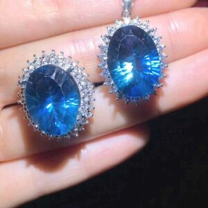 Natural Topaz Ring Pendant / Topaz Jewelry Set / White Gold Plated S925 Silver