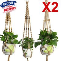 2X Hanging Plant Hanger Basket Garden Flower Pot Holder Rope Macrame Vintage ZX