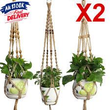 2X Hanging Plant Hanger Basket Garden Flower Pot Holder Rope Macrame Vintage ZX