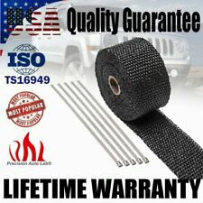 "2"" x 16ft Exhaust Manifold Header Pipe Roll Tape Heat Wrap Thermal & 5 Ties"