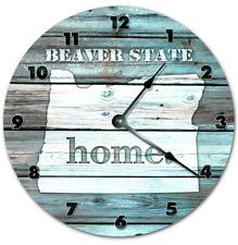 "10.5"" OREGON TEAL RUSTIC LOOK CLOCK - Large 10.5 inch Wall Clock - Printed Decal"