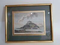 St Michaels Mount Art Print 1786 J Newton Mounted Framed ref1P99