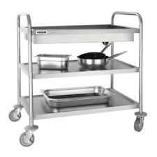 More details for vogue deep tray clearing trolley 940x855x535mm stainless steel catering cart