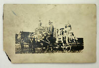 Horse Drawn Wagon on Farm Family Potrait Very Old Real Photo RPPC Postcard