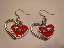 """Ohrring mit Edelstahl Herz in rotem Herz """"love"""" aus Email Handgemacht 4356"""