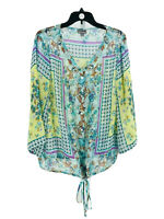 Roz & Ali Women's Plus Multicolored Floral V-Neck 3/4 Sleeve Blouse Size 1X