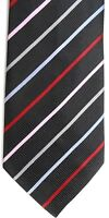 "Henry Jacobson Men's Silk Tie 59"" X 4"" Black w/ multi-color British Striped"